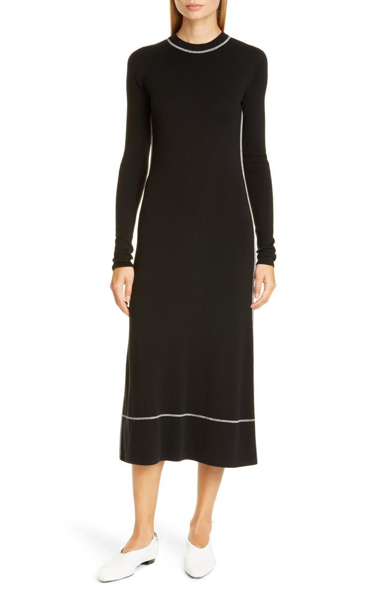 PROENZA SCHOULER Silk Blend Long Sleeve Midi Dress, Main, color, 001