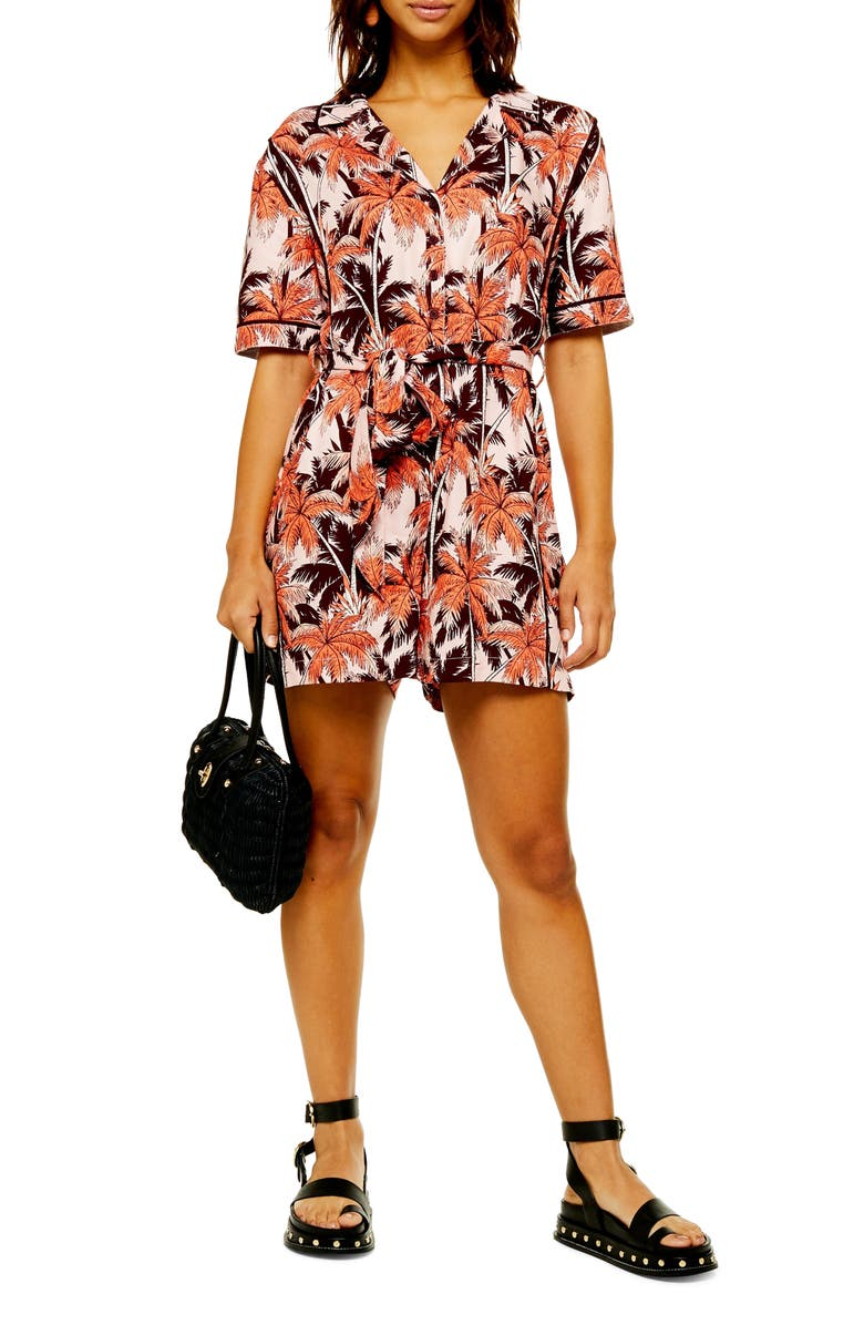 TOPSHOP Tropical Print Romper, Main, color, PINK MULTI
