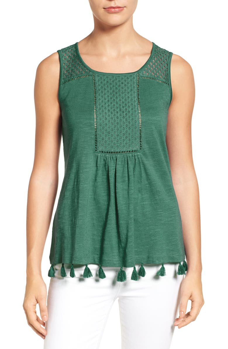 CASLON<SUP>®</SUP> Tassel Trim Embroidered Tank, Main, color, 301