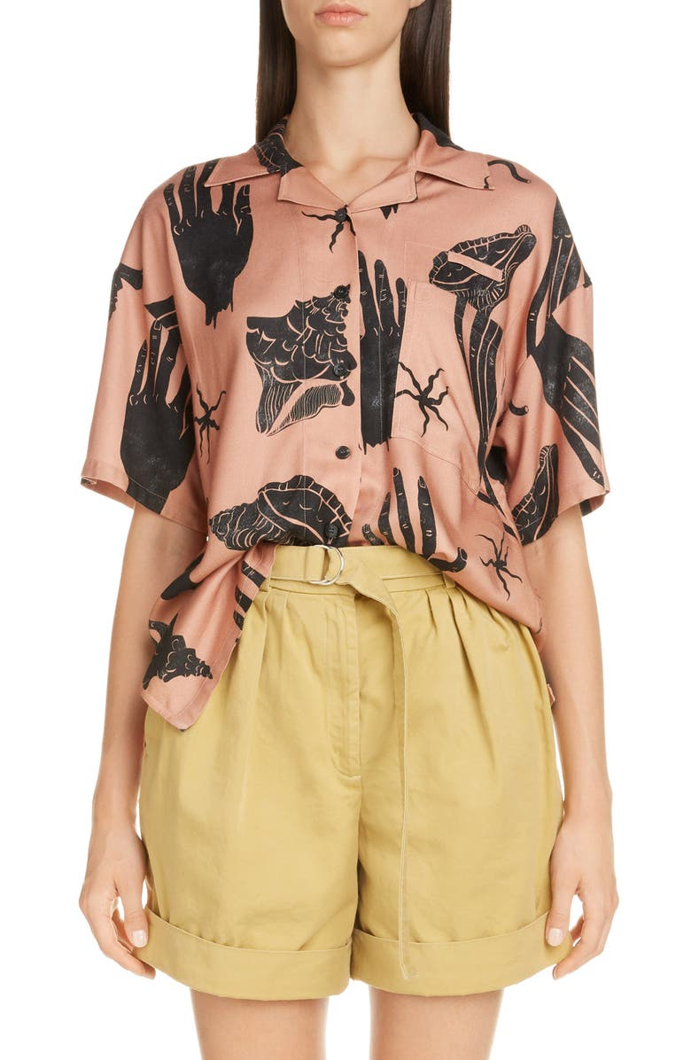 ACNE STUDIOS Simonne Print Shirt, Main, color, PINK/ BLACK