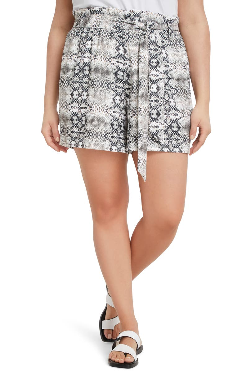ELOQUII Snake Print Belted Paperbag Waist Shorts, Main, color, 250