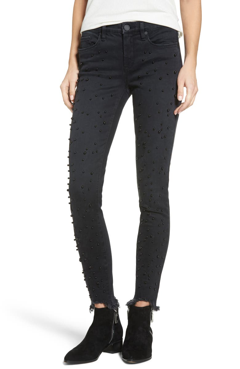 BLANKNYC Faux Pearl Embellished Skinny Jeans, Main, color, 001