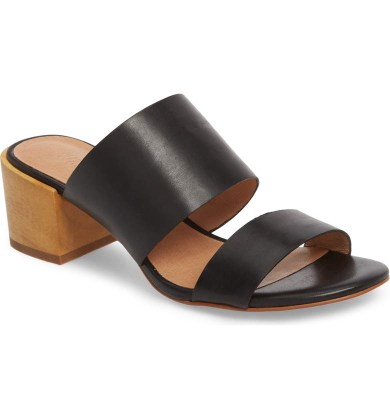 MADEWELL Kiera Block Heel Slide, Main, color, TRUE BLACK LEATHER