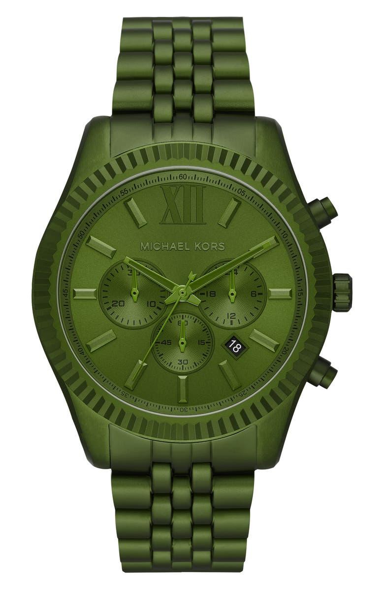 MICHAEL KORS Lexington Bracelet Chronograph Watch, 44mm, Main, color, GREEN