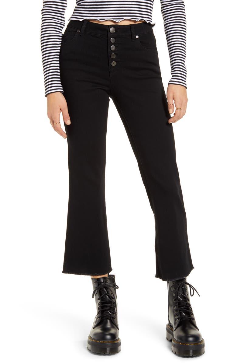 1822 DENIM High Waist Crop Flare Jeans, Main, color, 001