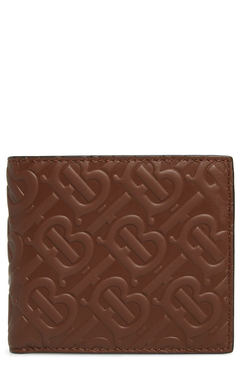 BURBERRY TB Monogram Leather Bifold Wallet, Main, color, BROWN
