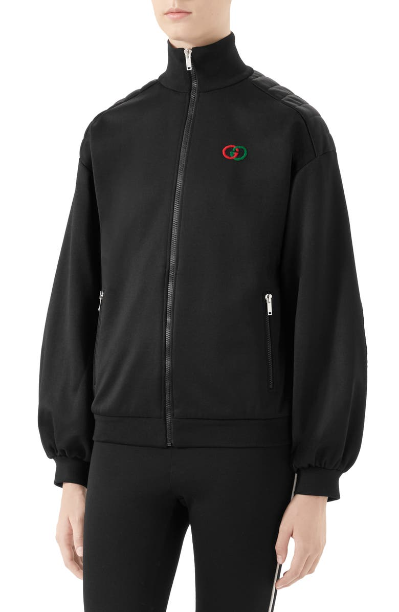 GUCCI Elbow Pad Tech Jersey Jacket, Main, color, BLACK