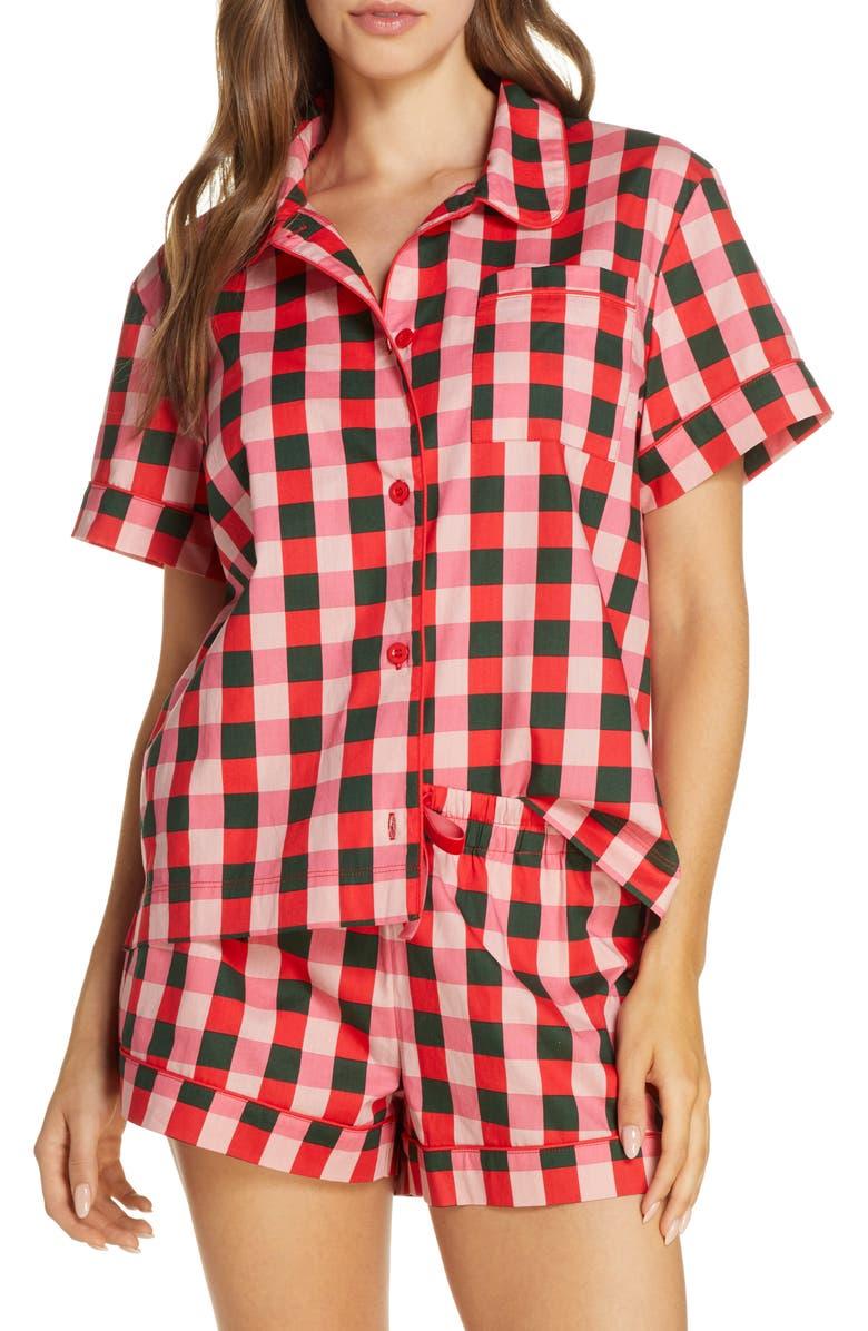 BAN.DO Buffalo Check Cotton Poplin Pajama Top, Main, color, PINK