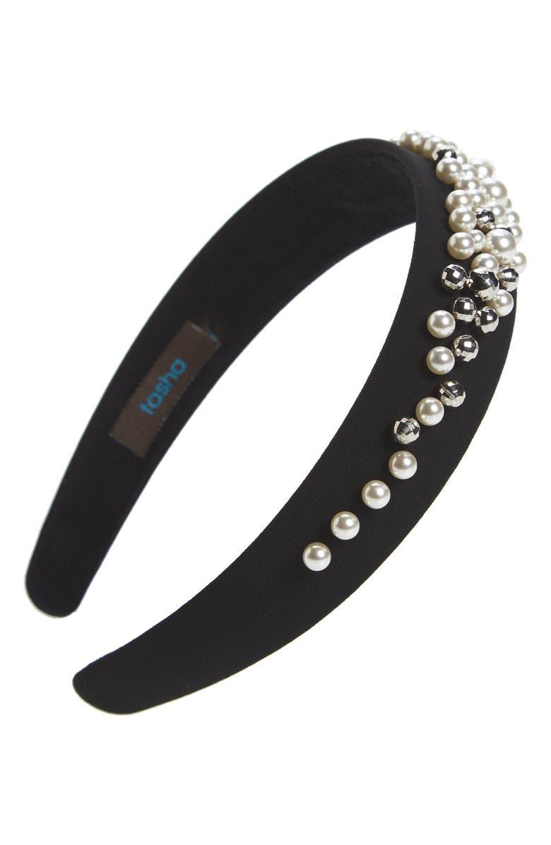 TASHA Beaded Headband, Main, color, BLACK