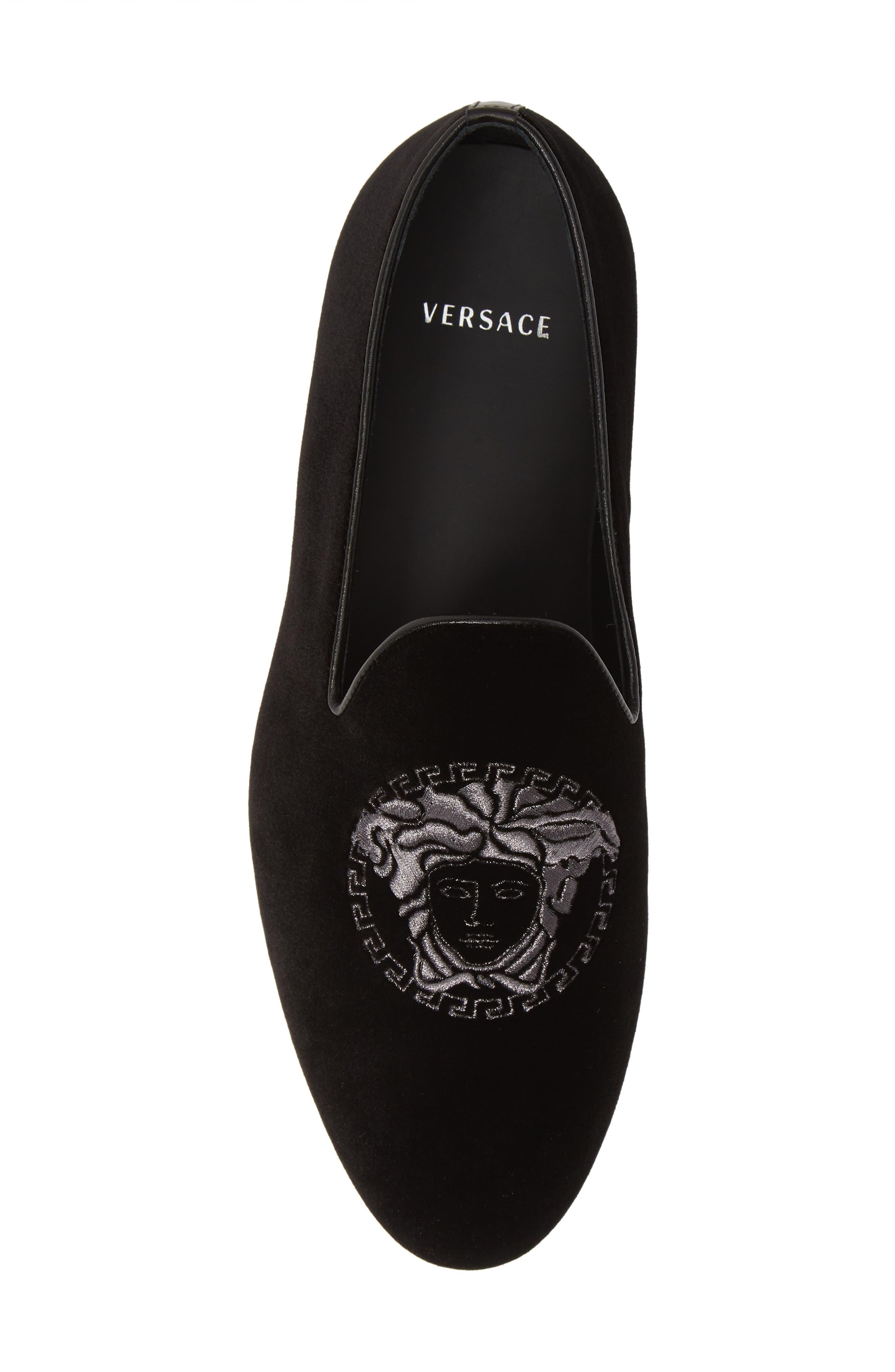 ,                             Medusa Embroidered Velvet Loafer,                             Alternate thumbnail 5, color,                             BLACK/ RUTHENIUM