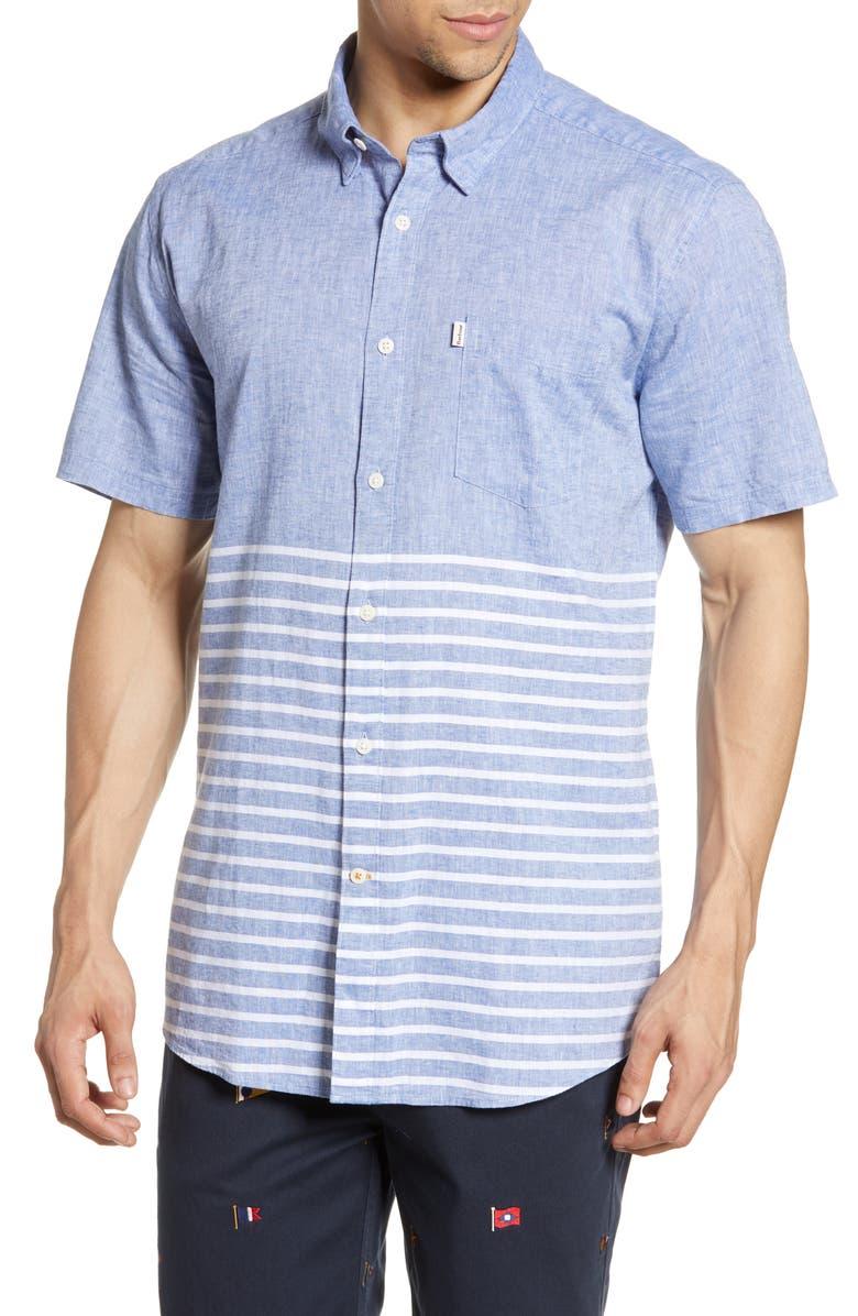 BARBOUR Rowlock Tailored Fit Linen Blend Woven Shirt, Main, color, 450