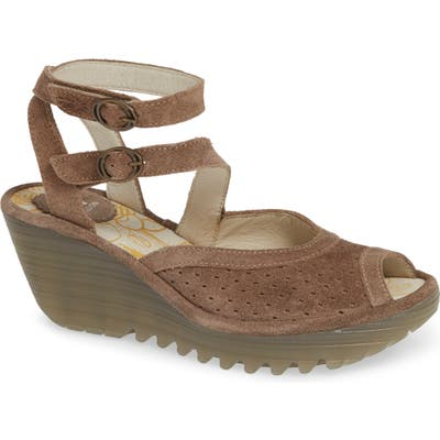 Fly London Yaxi Wedge Sandal, Brown