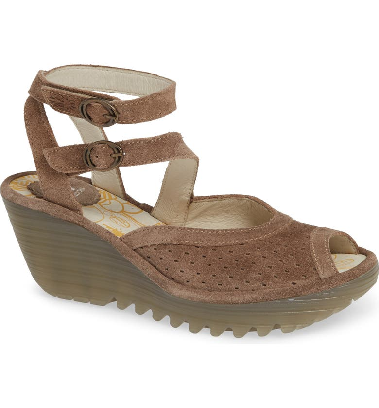 FLY LONDON Yaxi Wedge Sandal, Main, color, TAUPE SUEDE