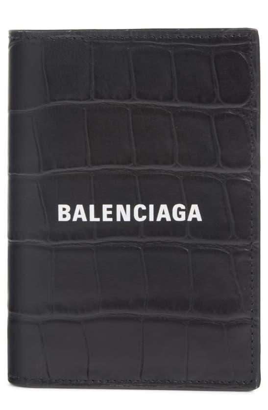 Balenciaga CASH LOGO CROC EMBOSSED LEATHER BIFOLD WALLET