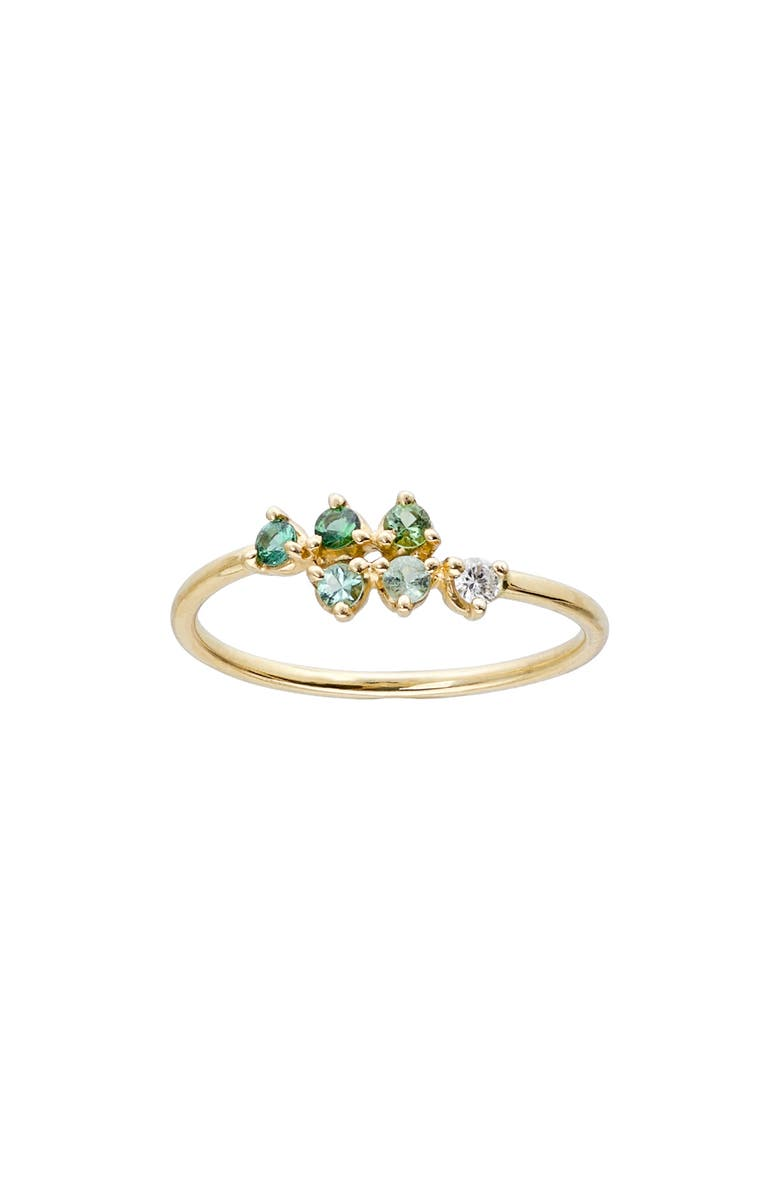 WWAKE Botany Mirrored Points Gradient Green Tourmaline & Diamond Ring, Main, color, 14KT GOLD