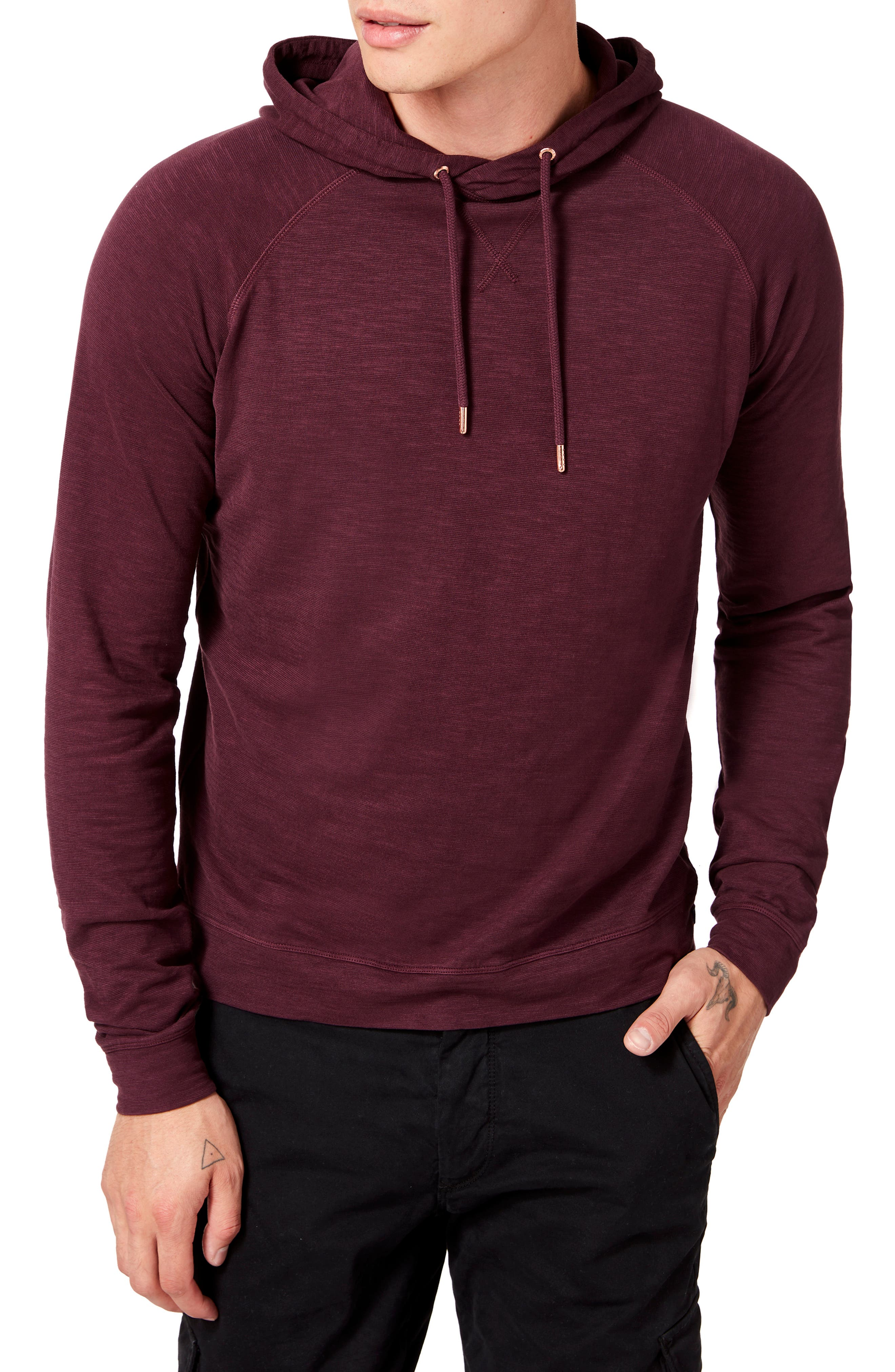 Softly slubbed cotton brings mottled color and texture to a wardrobe-staple hoodie cut in a slim fit for layerable, easy-wearing comfort. Style Name: Good Man Brand Legend Slim Fit Pullover Hoodie. Style Number: 5862590. Available in stores.