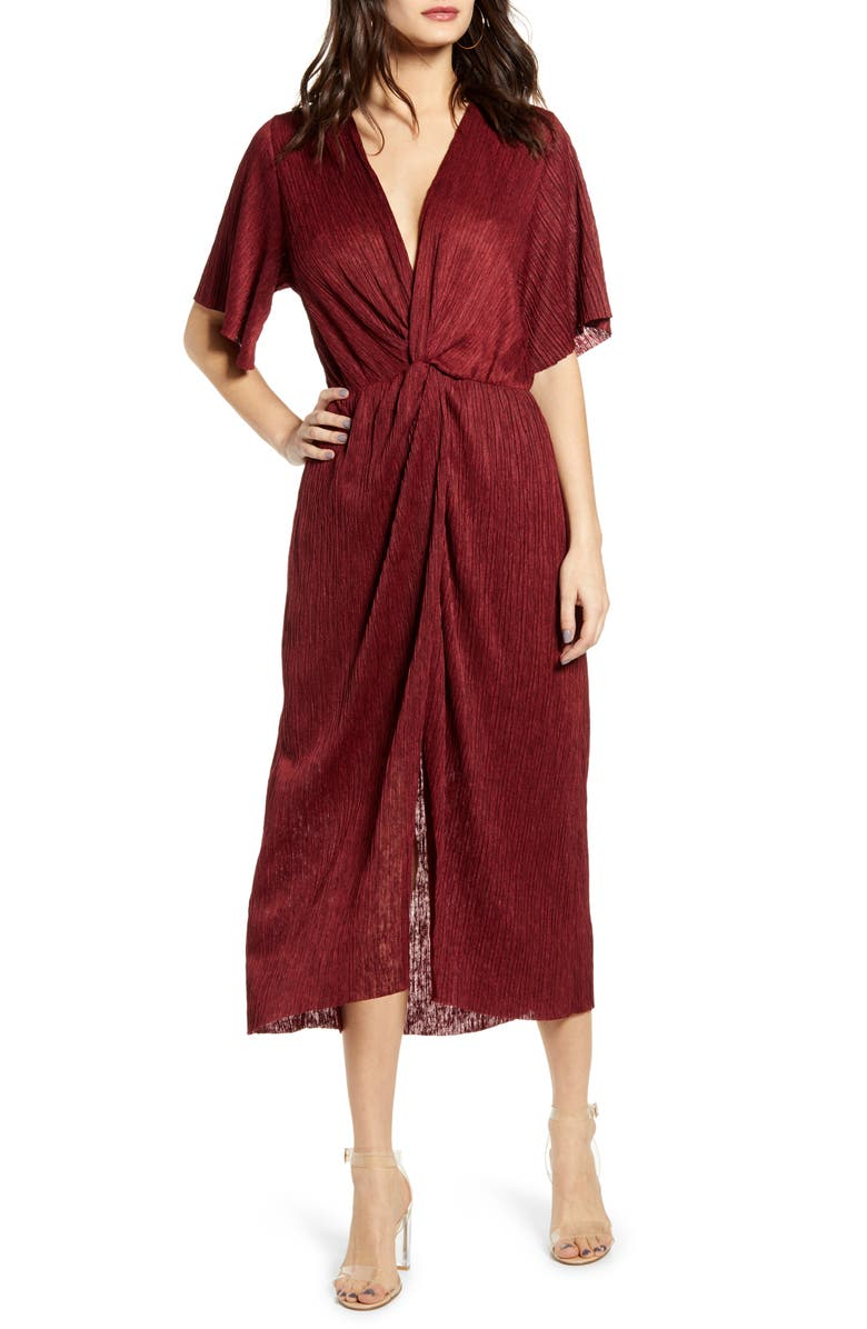 ALL IN FAVOR Dolman Plissé Midi Dress, Main, color, CABERNET