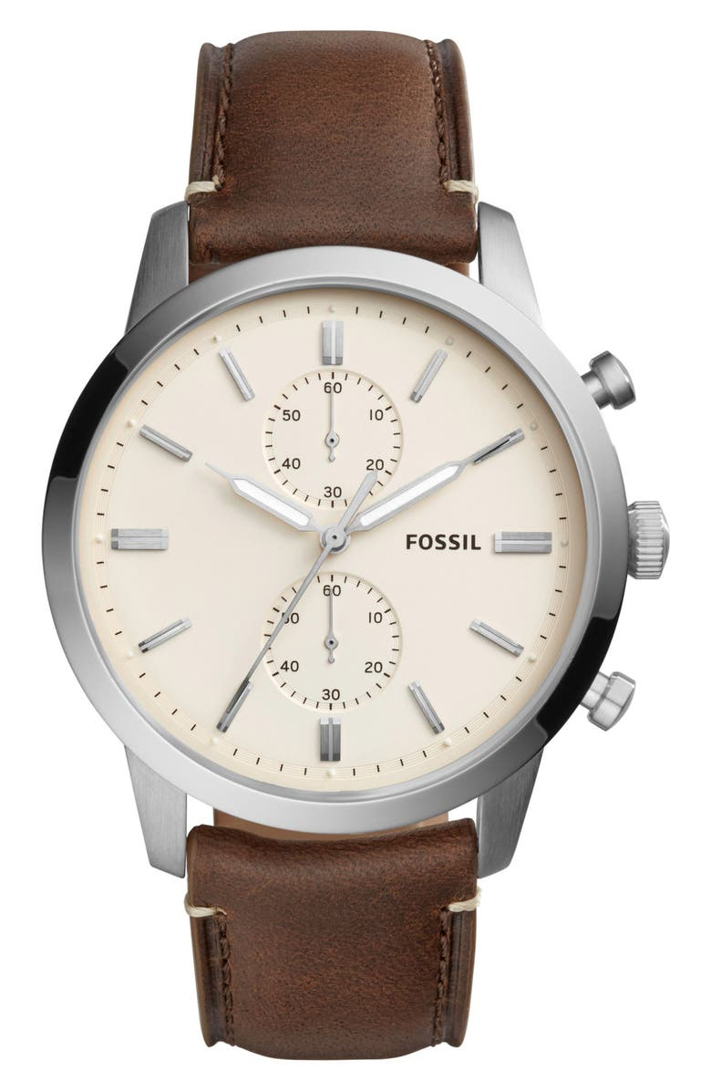 FOSSIL Townsman Chronograph Leather Strap Watch, 44mm, Main, color, 201