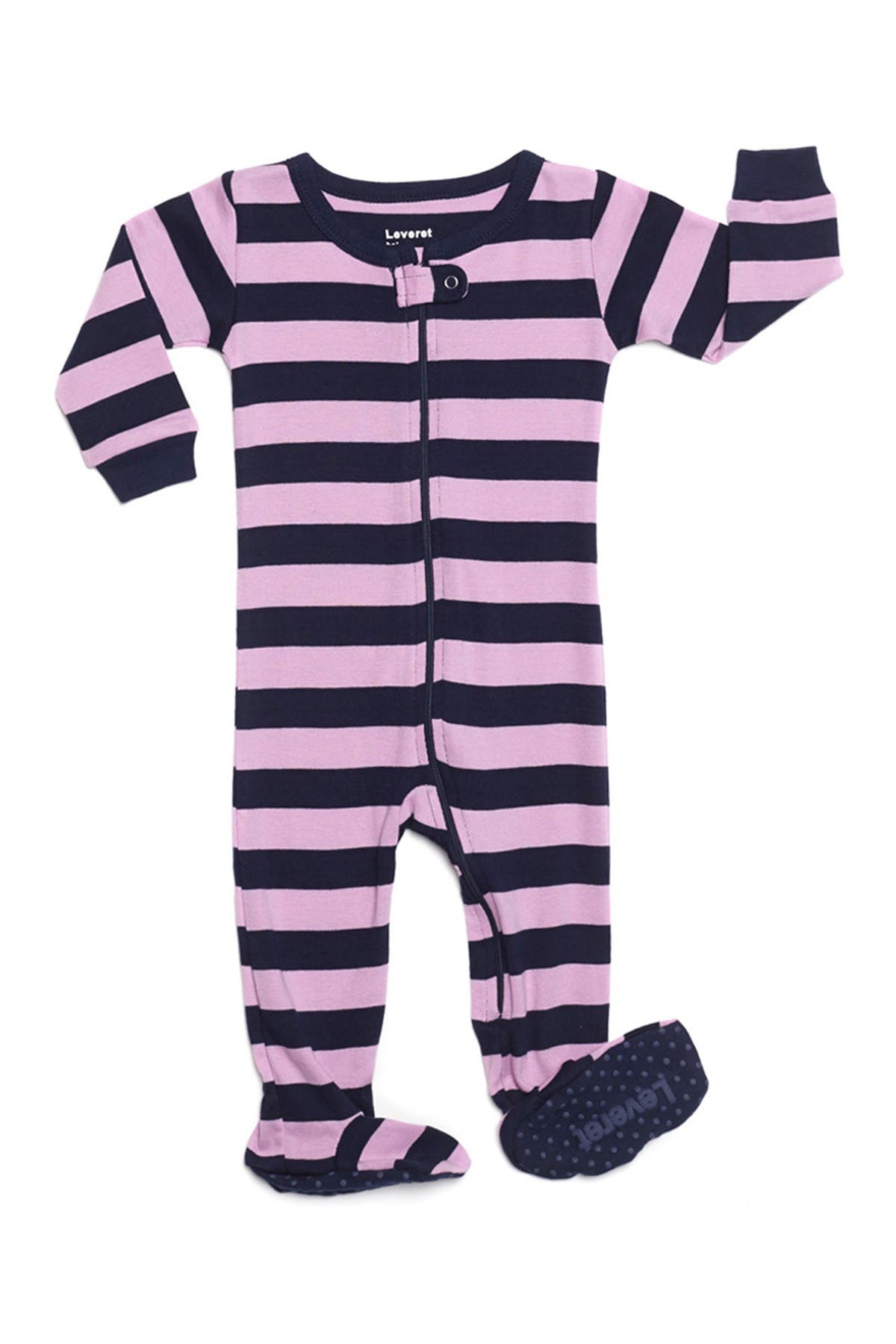 Image of Leveret Purple & Navy Striped Footed Jumpsuit