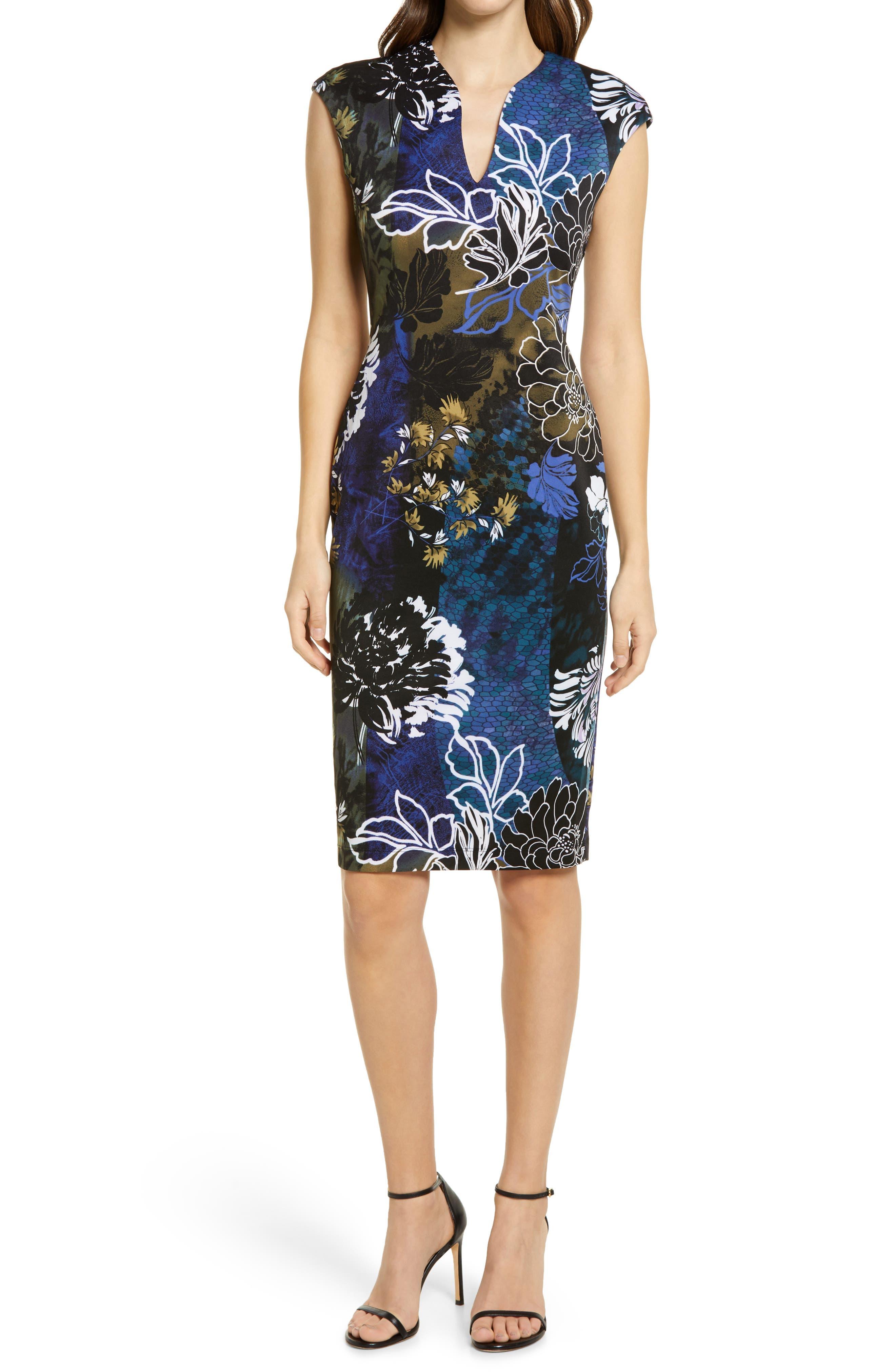 Floral V-Neck Sheath Dress