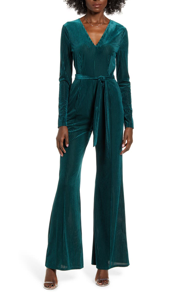 ASTR THE LABEL Velvet Jumpsuit, Main, color, SPRUCE GREEN