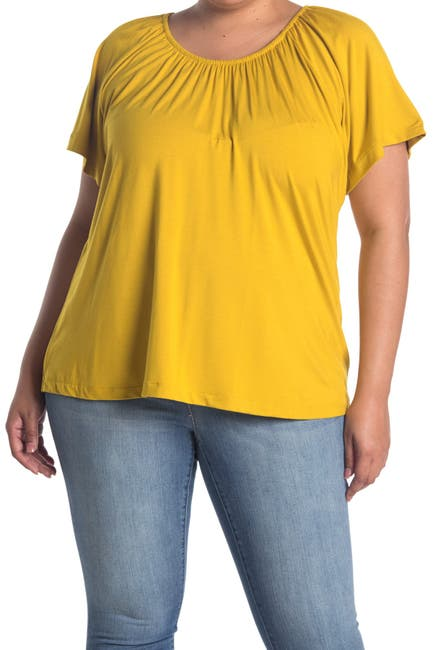 Image of Chelsea & Theodore Elbow Sleeve Elastic Knit Top