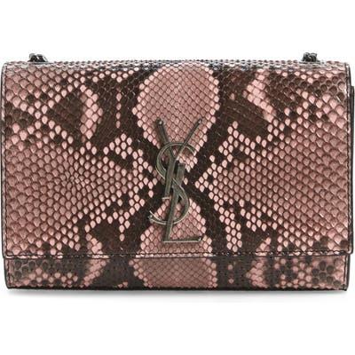 Saint Laurent Small Kate Genuine Python Shoulder Bag - Pink