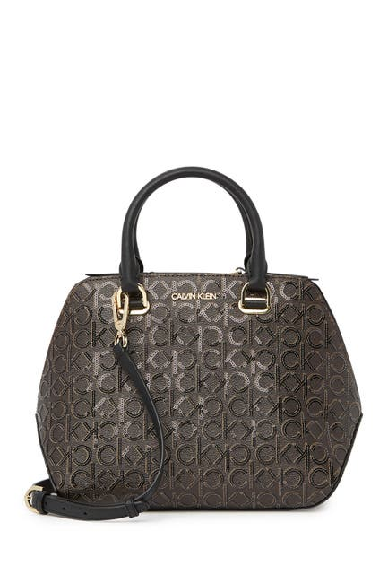 Image of Calvin Klein Hayden Signature Triple Compartment Shoulder Bag Satchel