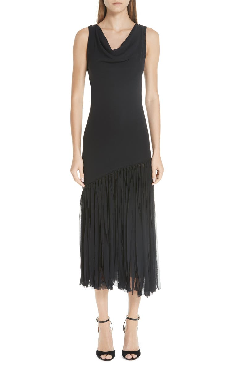 FUZZI Tulle Fringe Dress, Main, color, NERO