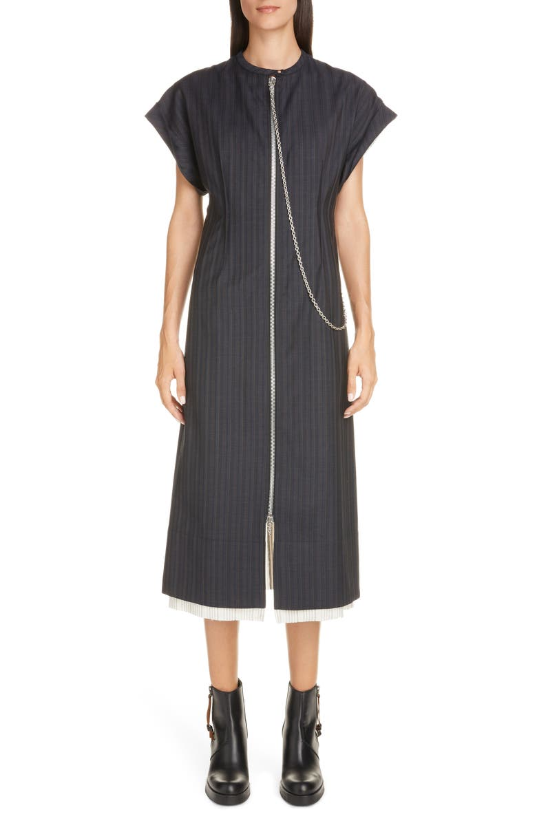 ACNE STUDIOS Di Chain Detail Pinstripe Midi Dress, Main, color, NAVY BLUE