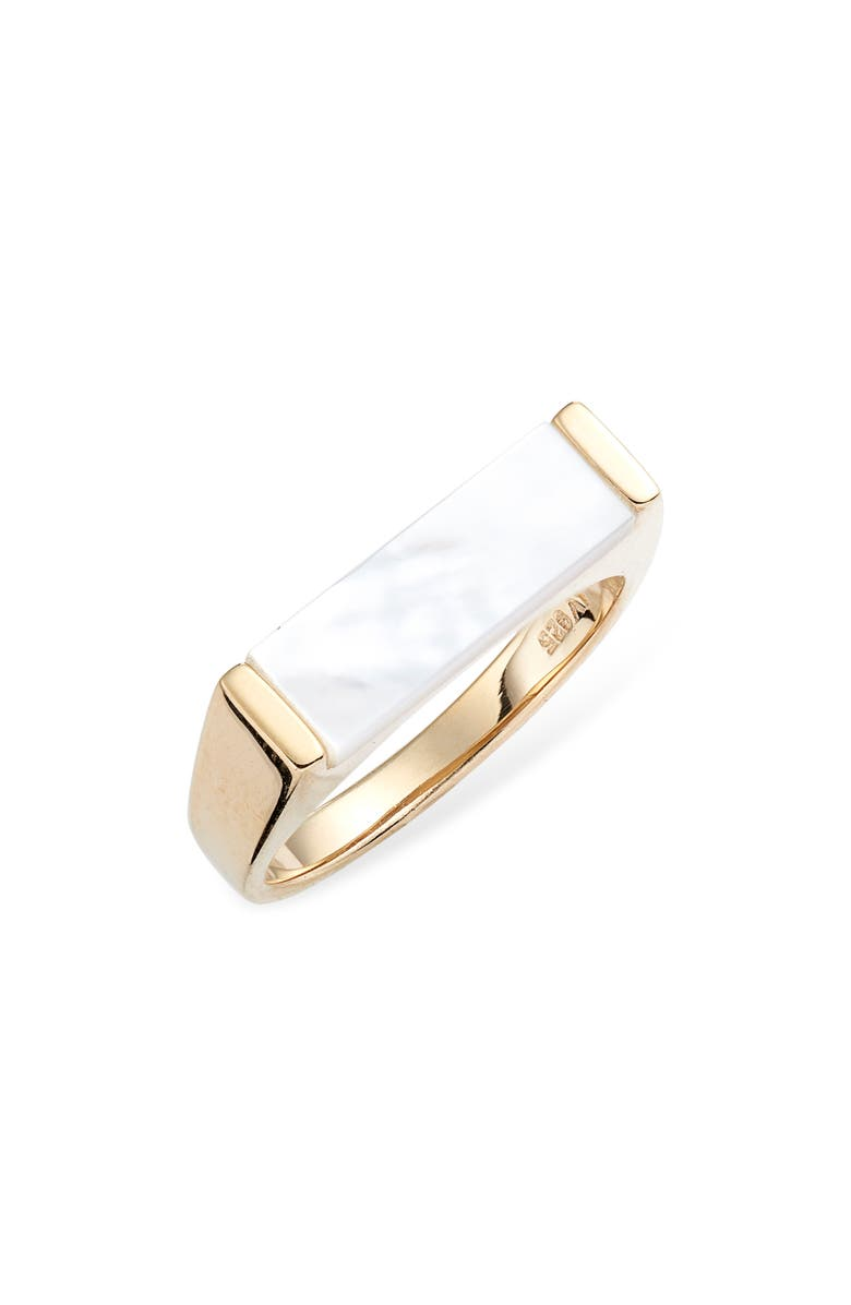 ARGENTO VIVO Mother of Pearl Bar Ring, Main, color, GOLD
