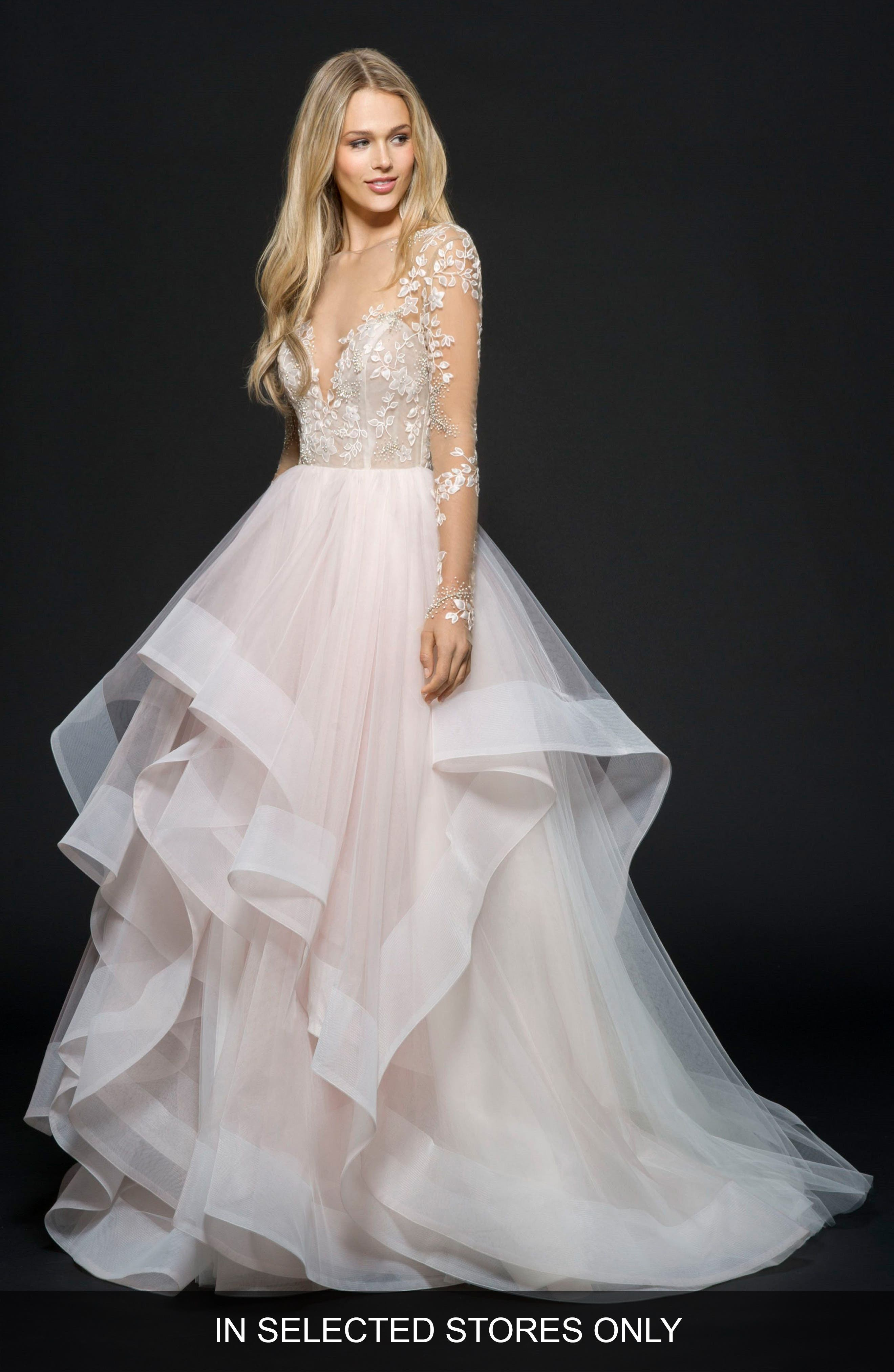Hayley Paige Lorelei Embroidered Tulle Ballgown, Size - Pink