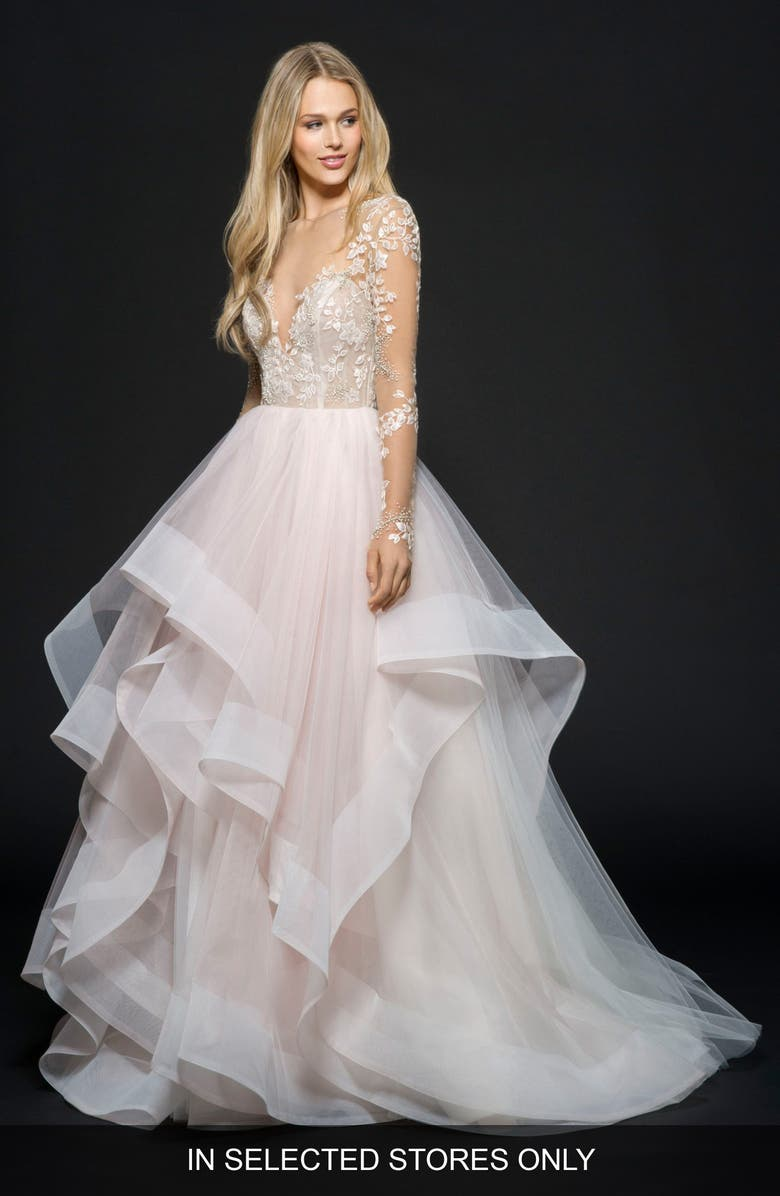 HAYLEY PAIGE Lorelei Embroidered Tulle Ballgown, Main, color, ROSEWATER