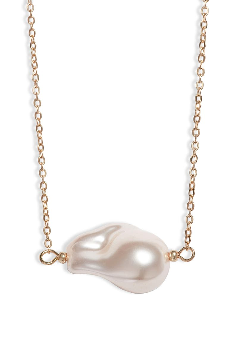 8 OTHER REASONS St. Barts Imitation Pearl Necklace, Main, color, GOLD/ PEARL