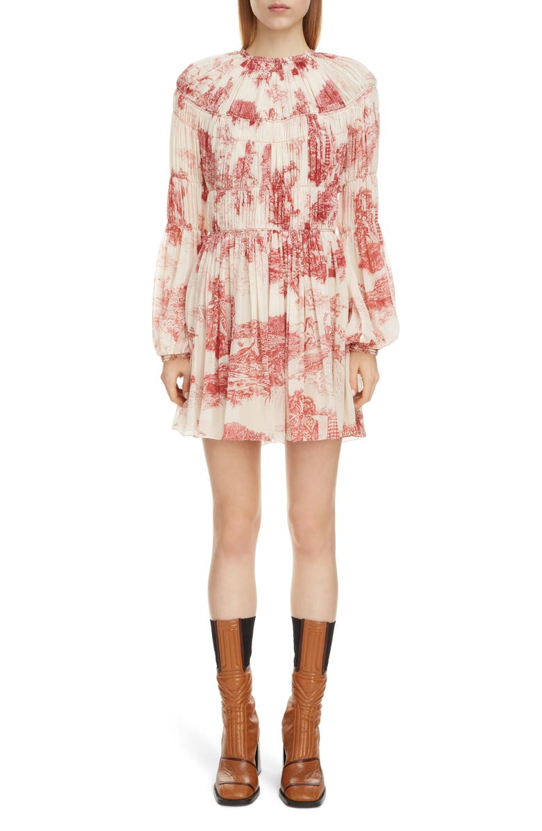 CHLOÉ Toile Long Sleeve Smocked Silk Georgette Minidress, Main, color, WHITE - RED 1