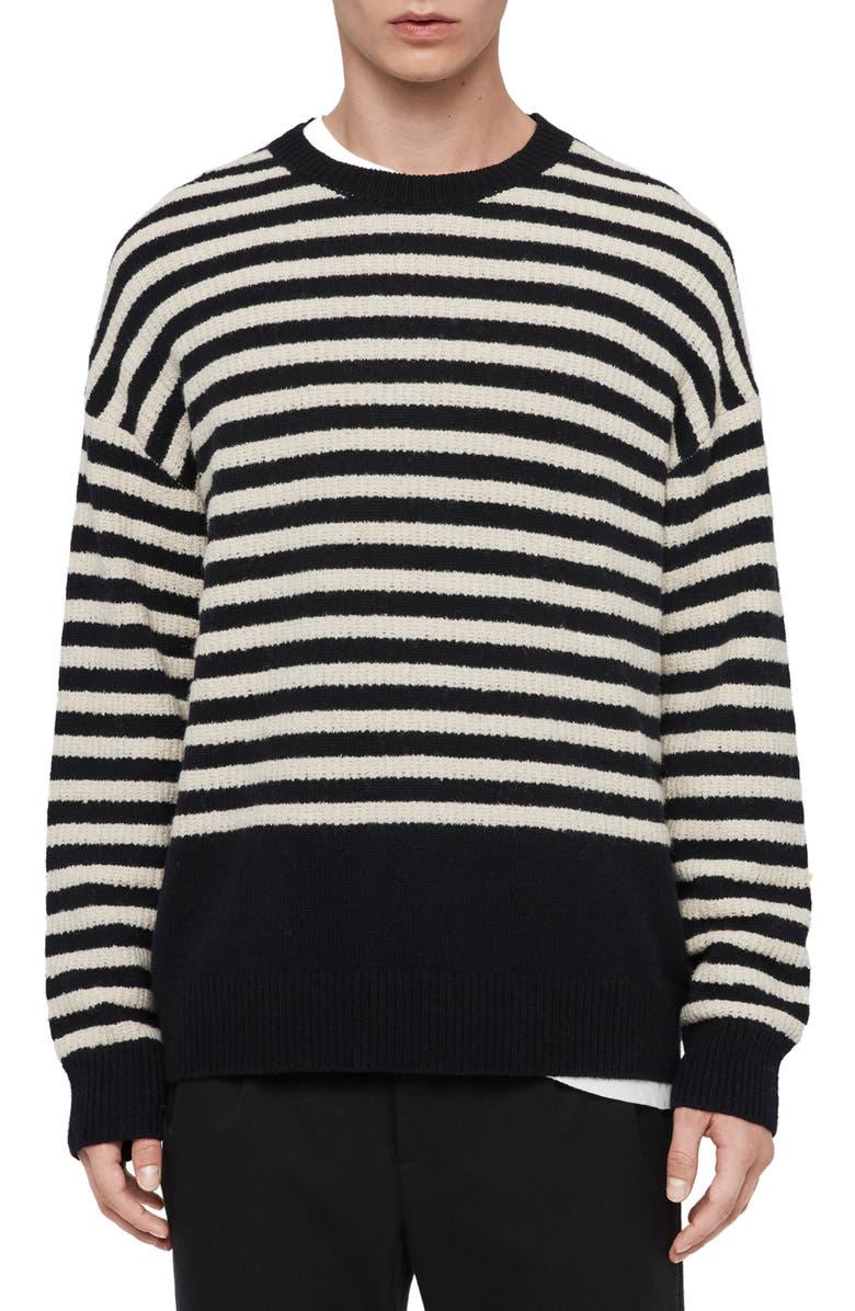 ALLSAINTS Keet Oversize Stripe Crewneck Sweater, Main, color, INK NAVY/ ECRU