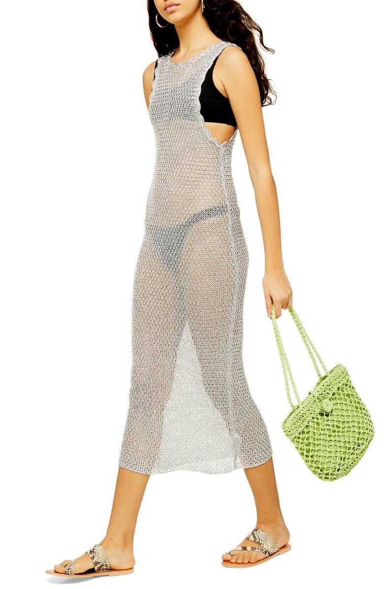 TOPSHOP Metallic Cover-Up Midi Dress, Main, color, SILVER