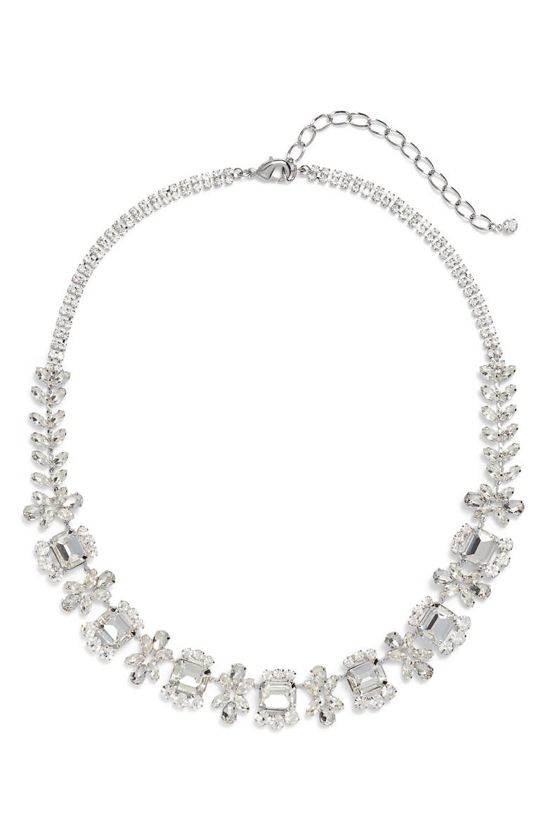 CRISTABELLE Crystal Frontal Necklace, Main, color, CRYSTAL/ SILVER