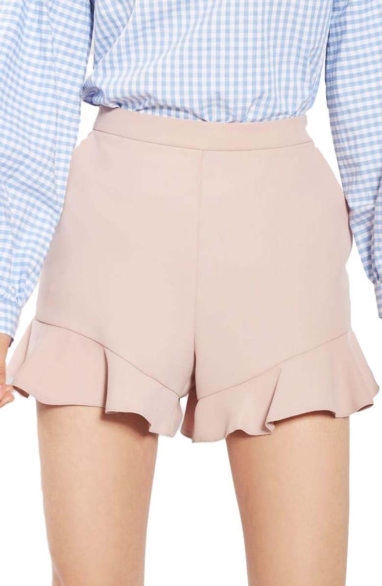 TOPSHOP Frill Hem Shorts, Main, color, 680