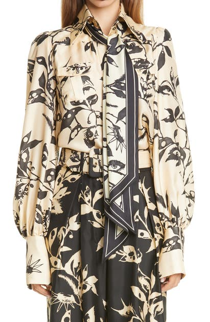 Zimmermann Silks LADYBEETLE EYE PRINT TIE NECK SILK SHIRT