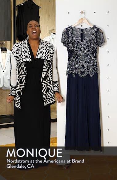 Embellished Mesh Bodice Evening Dress, sales video thumbnail