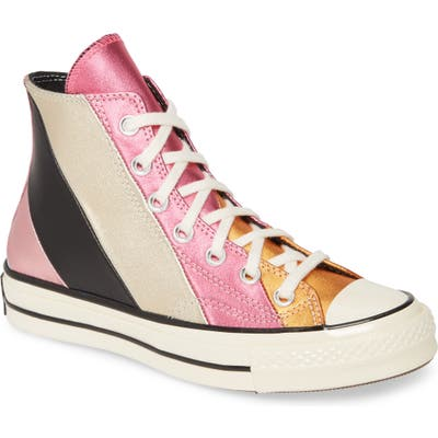 Converse Chuck Taylor All Star Chuck 70 Metallic Rainbow High Top Sneaker- Pink