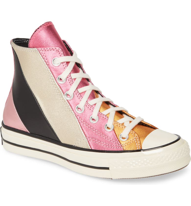 CONVERSE Chuck Taylor<sup>®</sup> All Star<sup>®</sup> Chuck 70 Metallic Rainbow High Top Sneaker, Main, color, PINK MULTI