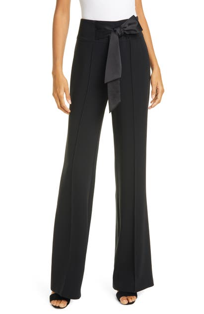 Cinq À Sept ISABEL SATIN BOW WIDE LEG PANTS