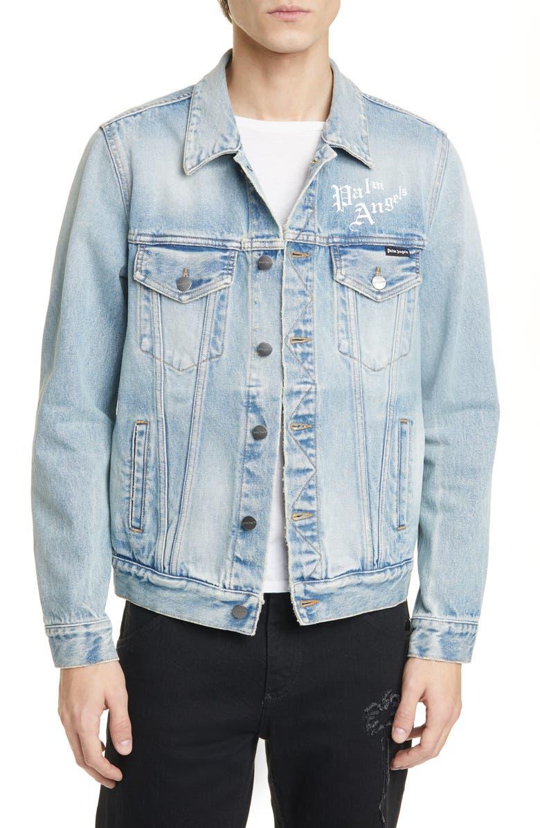 PALM ANGELS Sacred Heart Denim Jacket, Main, color, 400