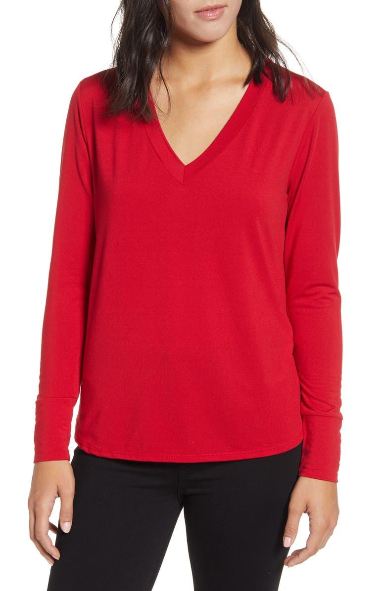 BOBEAU V-Neck Butter Top, Main, color, RED