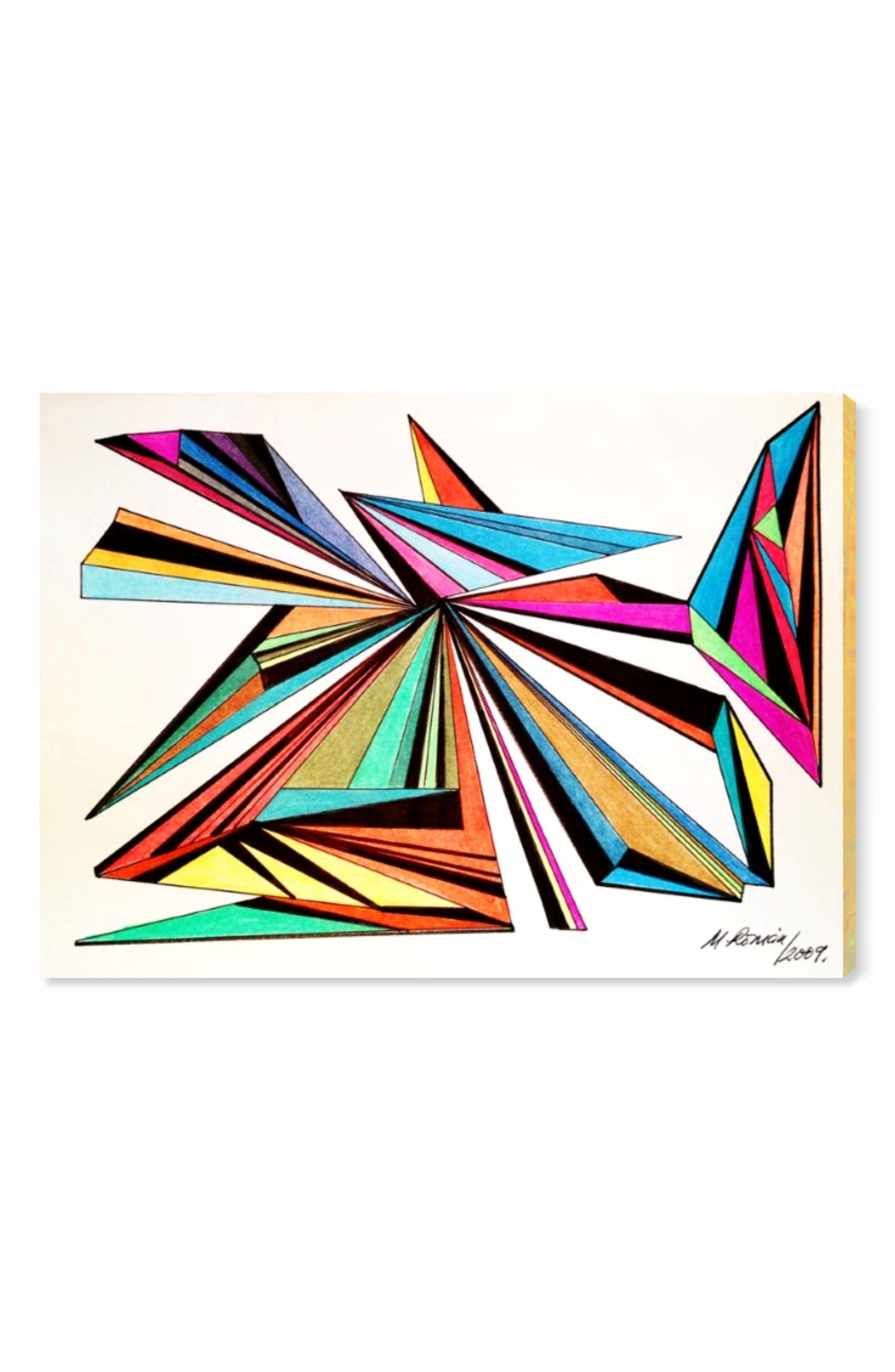 The sharp angles and vibrant hues of this artful giclee print is the perfect way to bring the modern abstract movement into your home. This ready-to-hang print is presented on a hand-stretched canvas and mounted on a sustainably harvested, FSC-certified wood frame. Style Name: Oliver Gal Architecta Canvas Wall Art. Style Number: 5520327. Available in stores.