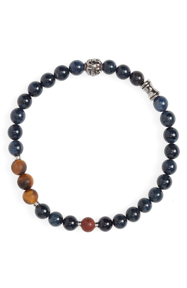 JONAS STUDIO Dakota Tritone Stone Stretch Bracelet, Main, color, BLUE