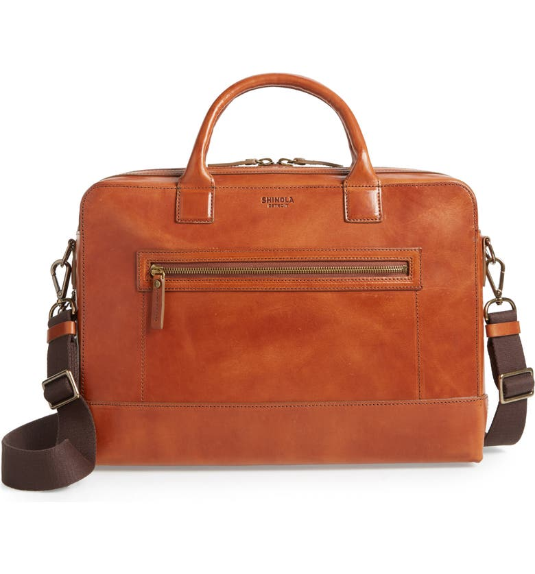SHINOLA Harness Bedrock Leather Briefcase, Main, color, BOURBON