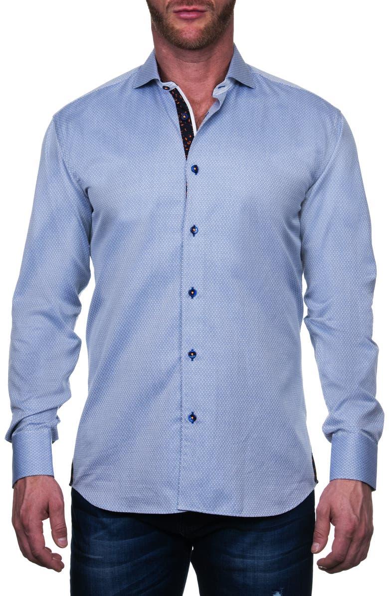 MACEOO Einstein Regular Fit Micro Print Button-Up Shirt, Main, color, BLUE